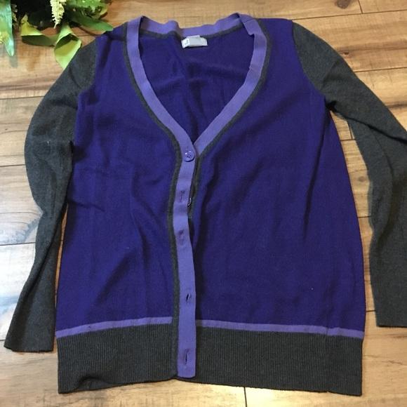 Women s size med purple grey boyfriend cardigan c90066dbd